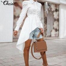 2021 Celmia Fashion Women White Blouse Long Shirts Asymmetrical Tunic Tops Lapel Long Sleeve Casual Solid Party Blusas Femininas