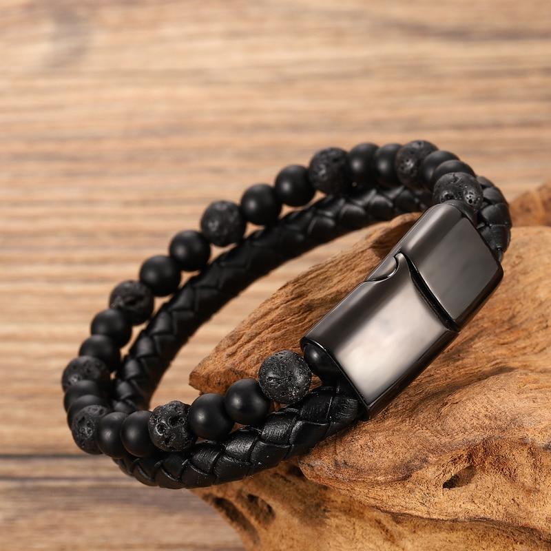 Bracelet à perles en cuir pour hommes, corde en acier inoxydable, pierre naturelle et magnétique, bracelet en pierre volcanique, chaîne cadeau 2