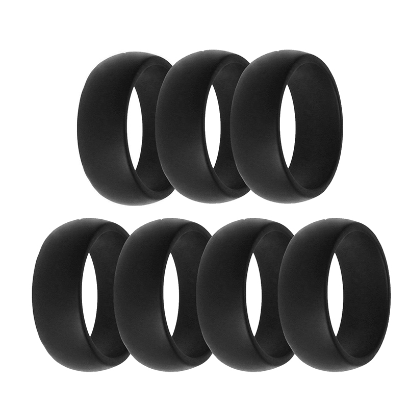Silicone Finger-Ring Army-Band Rubber Wedding Size-7-13 Engagement 7-Colors/Set title=