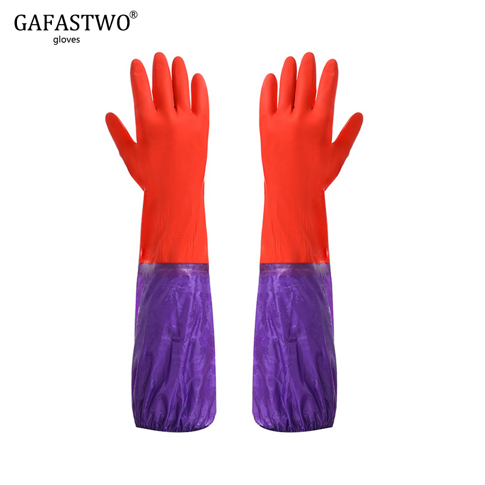 New Long Plus Velvet Laundry Dishwashing Latex Lady Cleaning Gloves Man Home Warm Waterproof Rubber Gloves