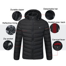 Winter Clothing Heat USB Heated Coat Electric Battery Hoodie Jacket Washable Zipper Temperature Ajustable Vest