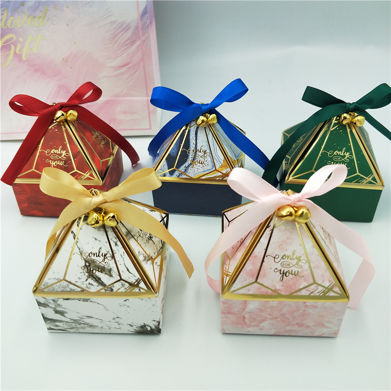 Gift Box Wedding Supplies Party Candy Box Baby Shower Paper Chocolate Boxes New Prismatic Creative Bronzing Packaging Boxes-0