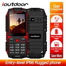Ioutdoor T1 2G תכונה נייד טלפון IP68 עמיד למים עמיד הלם טלפון 2.4 32MB + 32MB 2MP בחזרה מצלמה FM Telefon Celular 2100mAh