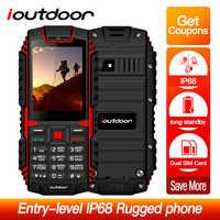 Ioutdoor T1 2G Telefon komórkowy IP68 wodoodporny, odporny na wstrząsy Telefon 2.4 ''128 M + 32M 2MP aparat z tyłu FM Telefon Celular 2100mAh