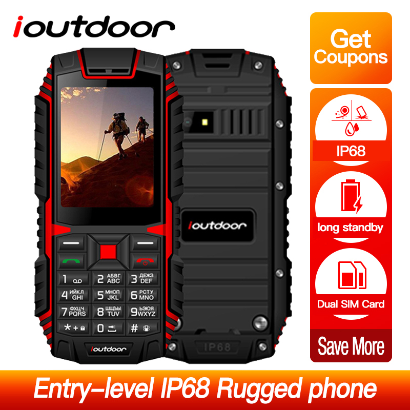 "ioutdoor T1 2G Feature Mobile Phone IP68 Waterproof Shockproof Phone 2.4"""" 128M+32M 2MP Back Camera FM Telefon Celular 2100mAh"