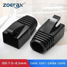 Zoerax 50 pces rj45 ethernet cabo de rede protetor de tensão botas cabo conector tampas para cat8 cat7 cat6a (od: 7.0mm ~ 8.5mm)