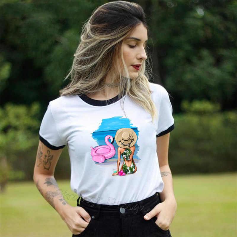 Vogue Beach super sexy Cartoon Girl Flamingo ponton kobiety letnie koszulki Lady Casual białe ubrania z krótkim rękawem koszulka damska