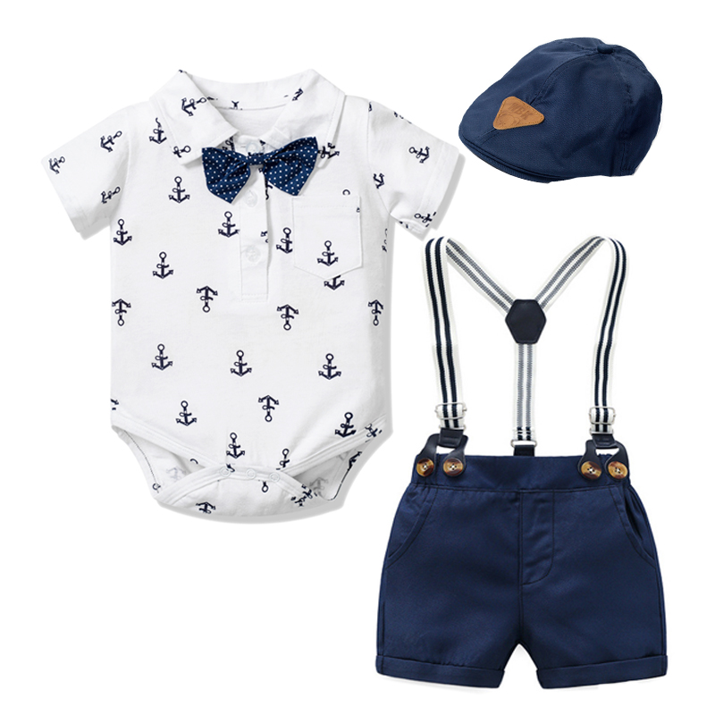 Newborn Boy Clothing Outfit Suit Baby Party Short Bowknot Hat Suit Birthday Dress Infant Boy Kid 3 6 9 12 18 24 Mouth