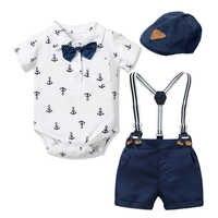 Traje de ropa para recién nacido, traje para fiesta de bebé, Sombrero con lazo, traje, vestido de cumpleaños para bebés, niño, Chico, 3, 6, 9, 12, 18 y 24 boca