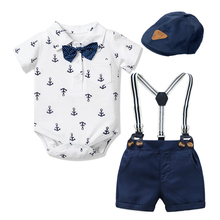 Neugeborenen Jungen Kleidung Outfit Anzug Baby Party Kurz Bowknot Hut Anzug Geburtstag Kleid Infant Boy Kid 3 6 9 12 18 24 mund