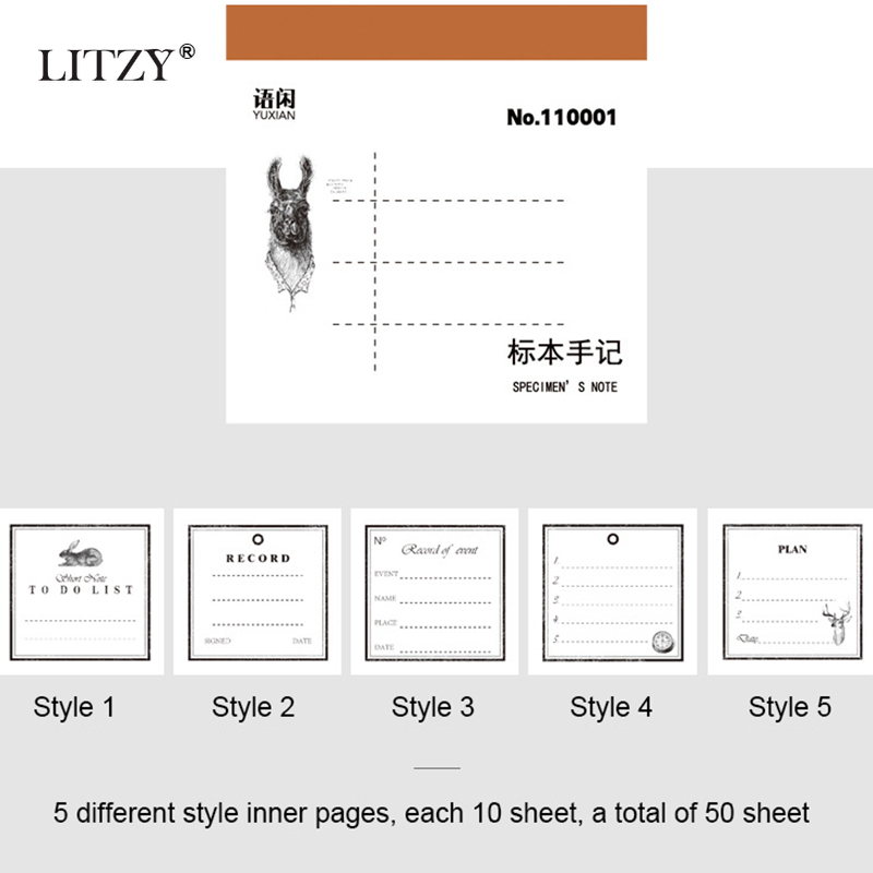 Купить с кэшбэком LITZY 50pcs Retro Loose-leaf Sticky Notes Journal Tearable note paper Message Notes Memo Pad Office School Stationery Supplies
