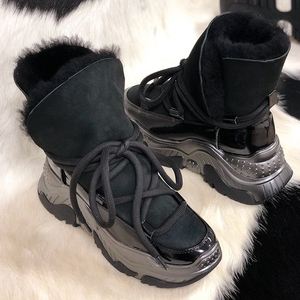 Genuine Leather Women Snow Boots Winter Platform Shoes Ankle Boots For Women Non-slip Keep Warm Wool Women's Sneakers