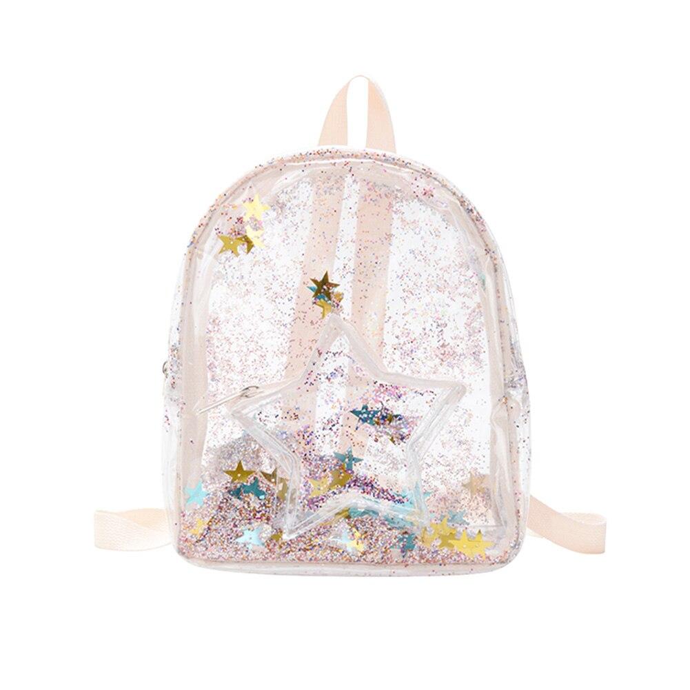 Ladies Small Backpack Travel Bag Transparent PVC Backpack Kids Glitter Stars Shoulder School Bags Travel Bagpack