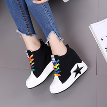 White Sneakers Women Platform Shoes high Wedge