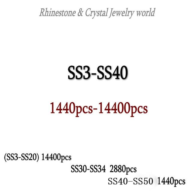 Wholesale SS3-SS40 1440-14400PCS/PACKS Crystal AB 3D Nail Art Decoration rhinestones glue on flatback Clothing rhinestone 3