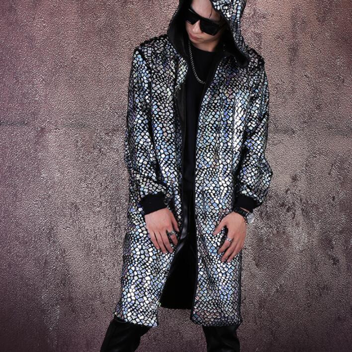Blue scales jacket men casual clothes mens jackets and coats jaqueta masculina chaqueta hombre casaco masculino hooded B815