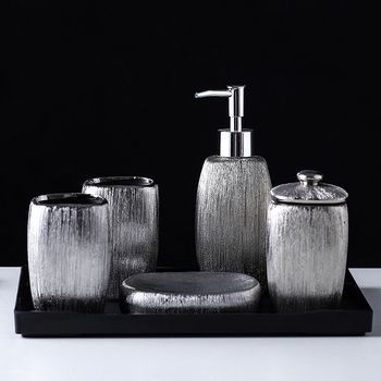 Electroplated Silver Ceramic Bathroom Accessories 6pcs Set Wash Set/Melamine tray/Lotion Soap Dispenser/Toothbrush Holder 1