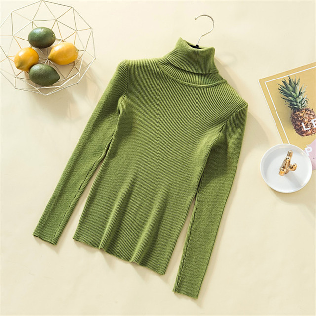 Knit Sweater Women Turtleneck Casual Pure Cashmere Pullover Autumn Winter Solid Long Sleeve Slim-jumper Soft Tops Pull Femme 1