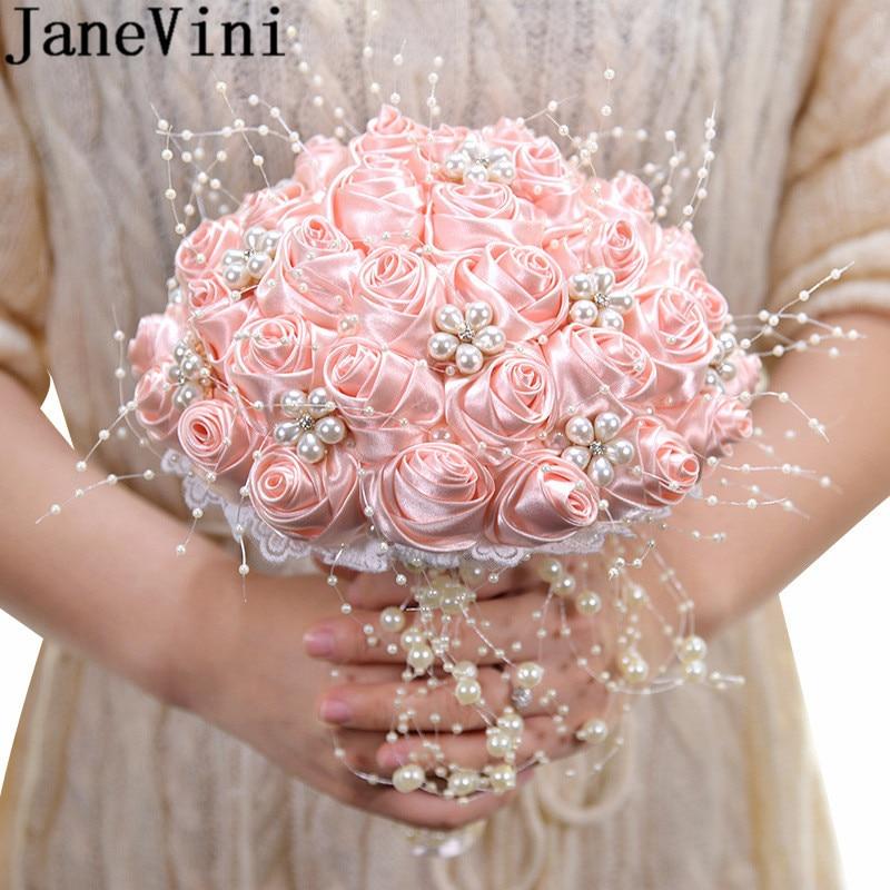 JaneVini 2020 New Bride Flowers Satin Rose Pearls Pink Wedding Bouquet Crystal Bridal bouquet fleur artificielle White Brooch