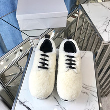 Newest 3 Colors Warm Wool Platform Shoes Famous Brand Women Winter Lace Up Casual Covered Coat Fur