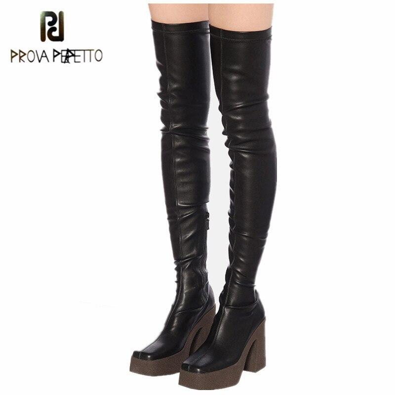 Prova Perfetto-Botas altas de charol para mujer, zapatos informales con plataforma Sid, punta cuadrada y cremallera, 2020