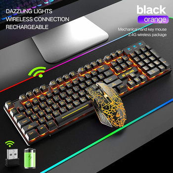 SPASH Gaming Keyboard Mechanical Feel Rainbow LED Backlight USB Keyboard and Mouse Set Ergonomic for PC Laptop Computer Gamer 3