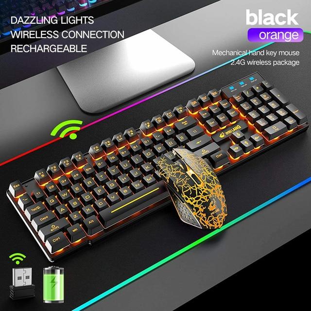 SPASH Gaming Keyboard Mechanical Feel Rainbow LED Backlight USB Keyboard and Mouse Set Ergonomic for PC Laptop Computer Gamer 3