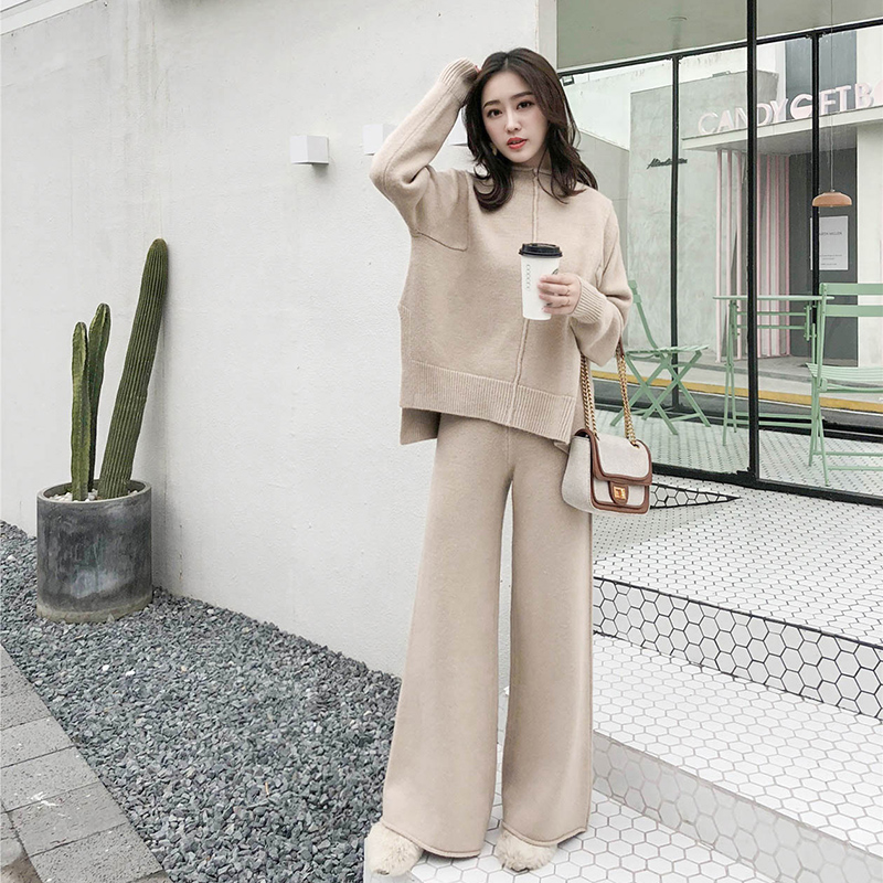 The drape knitting wide legged pants suit two piece women new winter cashmere sweater wide legged pants western style suits