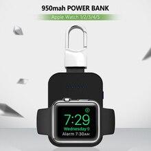 時計チーワイヤレス充電器 950 2600mah のミニ powerbank apple の iwatch 5 4 3 2 1 ポータブル外部バッテリ電源銀行ワイヤレス充電器