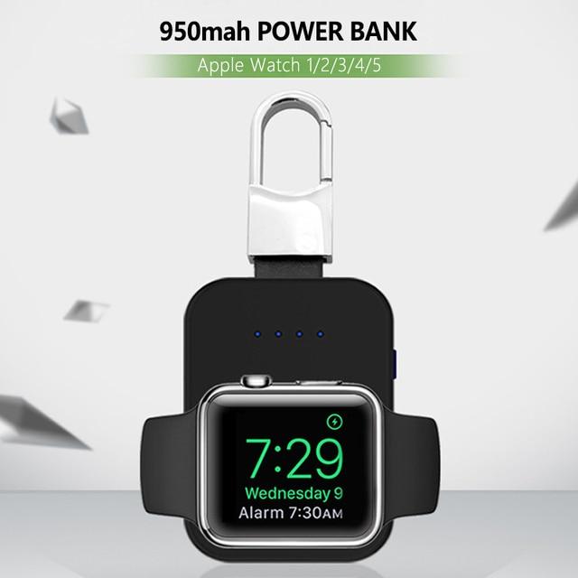 Dây Sạc Không Dây Qi 950 MAh Mini Powerbank Cho Apple IWatch 5 4 3 2 1 Di Động Gắn Ngoài Pin ngân Hàng Sạc Không Dây