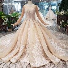 HTL296 יוקרה מוסלמי שמלות כלה 2020 עם רעלה שמפניה כלה שמלות אפליקציות קריסטל