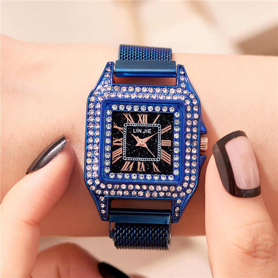 אישה שעון כיכר יוקרה יהלומי קוורץ שעונים מקרית מגנטי שעון יד נשים גבירותיי נקבה שעון