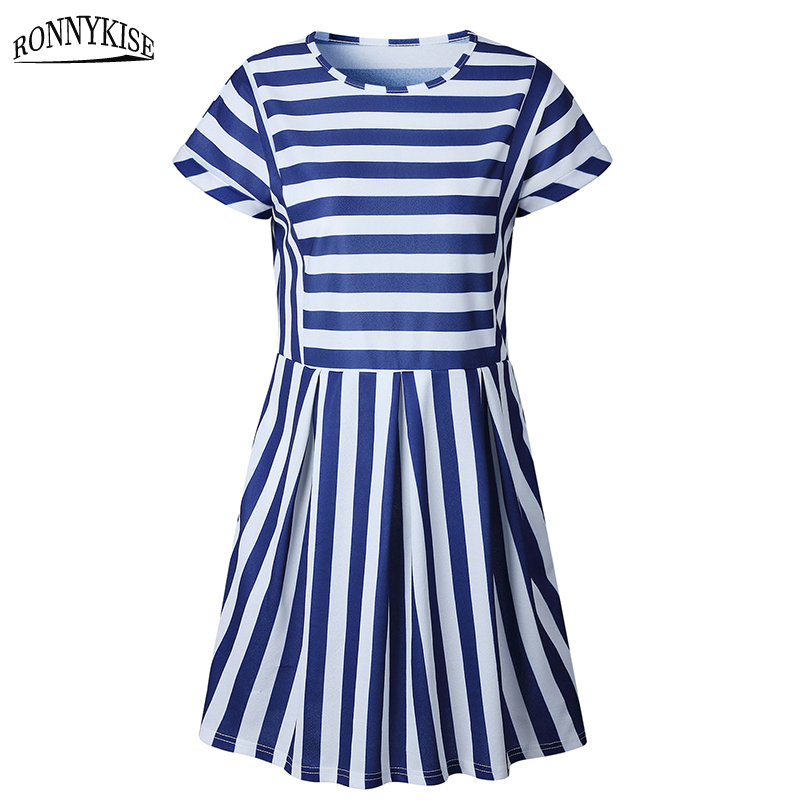 RONNYKISE Striped Stitching Midi Dresses Womens Fashion Short Sleeve O neck Bodycon Dress Summer Casual Slim Fit Dress in Dresses from Women 39 s Clothing