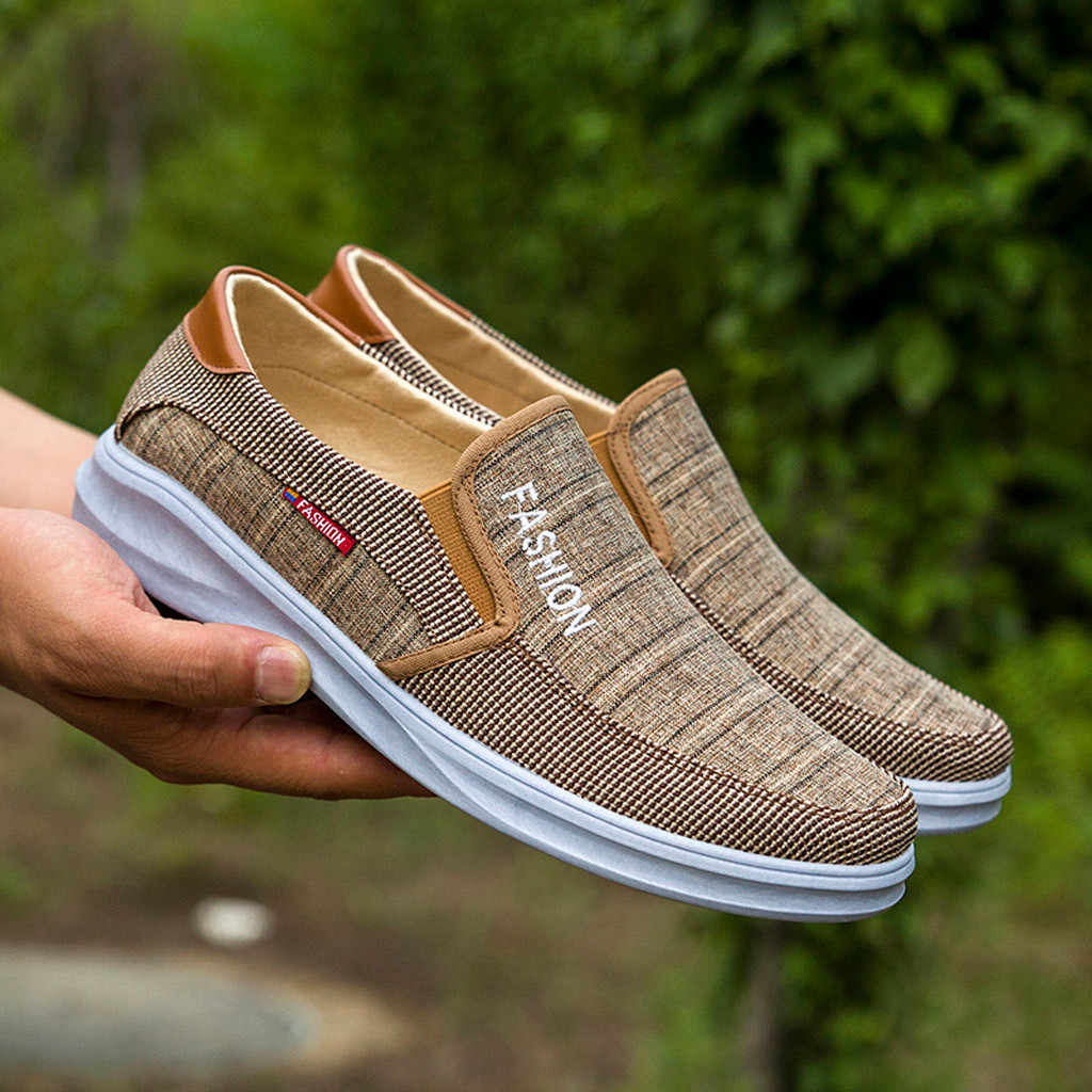 Erkek ayakkabısı moda açık tuval Casual Slip-On tembel nefes Sneakers Flats ayakkabı yaz Zapatos De Hombre ayakkabı #45
