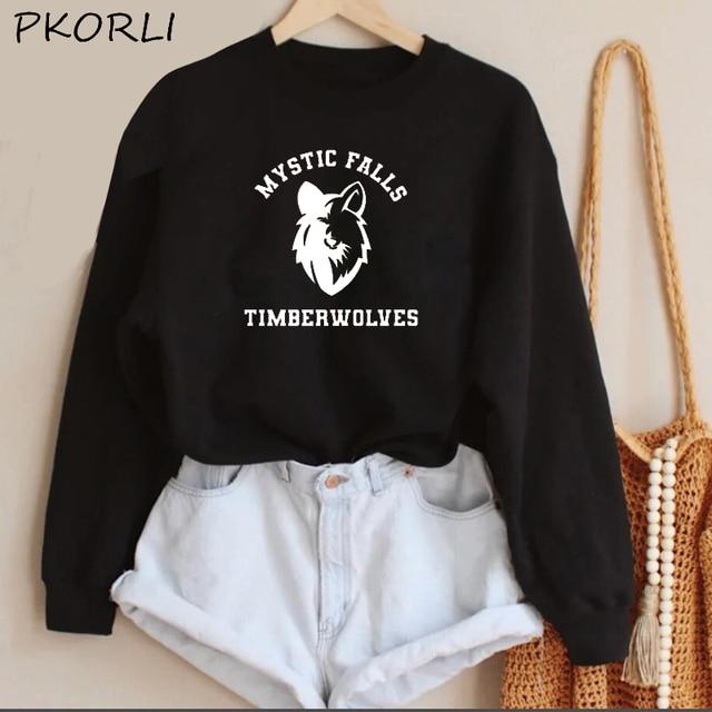The Vampire Diaries Hoodies Women MenTeam Stefan Salvatore Sweatshirt Mystic Falls Salvatore 17 Printed Women's Clothing 4