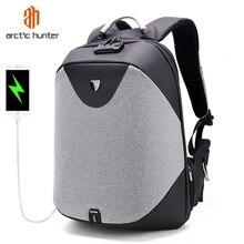 Рюкзак ARCTIC HUNTER мужской для ноутбука 15,6 дюйма, водонепроницаемый Повседневный дорожный деловой портфель с USB разъемом, с защитой от кражи, подарок
