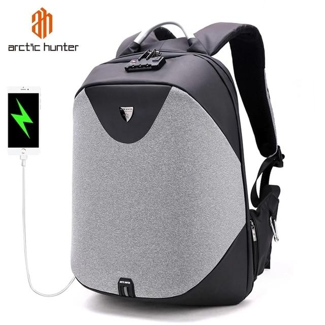 Arctique HUNTER école 15.6 sac à dos pour ordinateur portable hommes imperméable Mochila décontracté voyage affaires USB sac à dos mâle sac Anti vol cadeau
