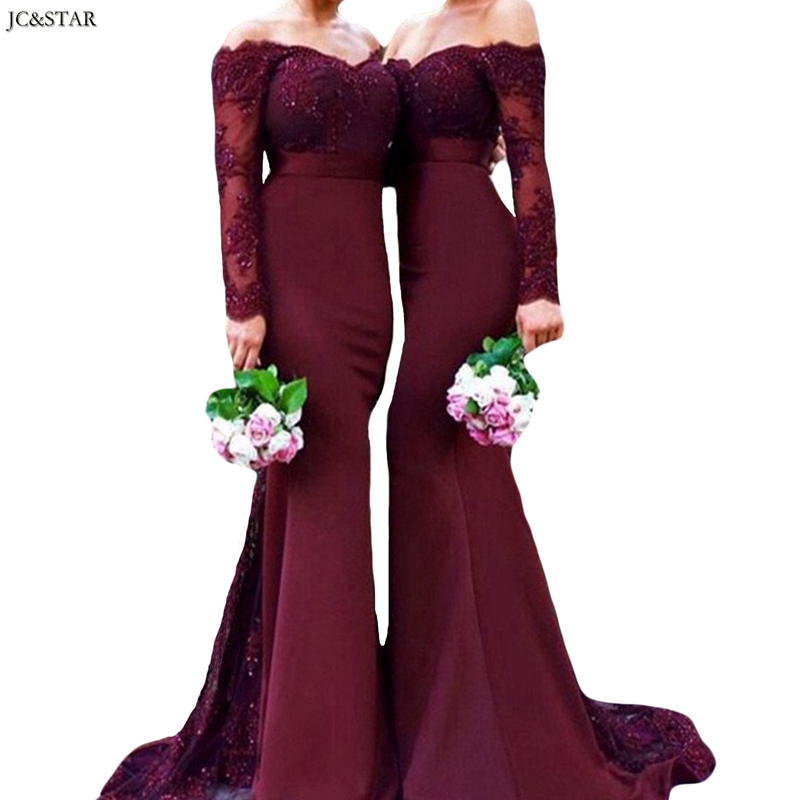 Robe Pour Mariage Invit Femme New V Neck Lace Long Sleeve Sexy Mermaid Burgundy African Bridesmaid Dress Long Robe Fille D'honne