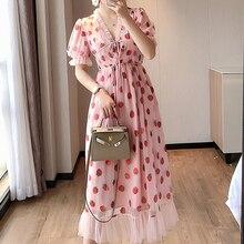 Платье женское средней длины с коротким рукавом и V-образным вырезом