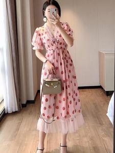 Women's Clothing Belt Short-Sleeve Yarn Mid-Length-Dress V-Neck Strawberry Party Hot-Stamping