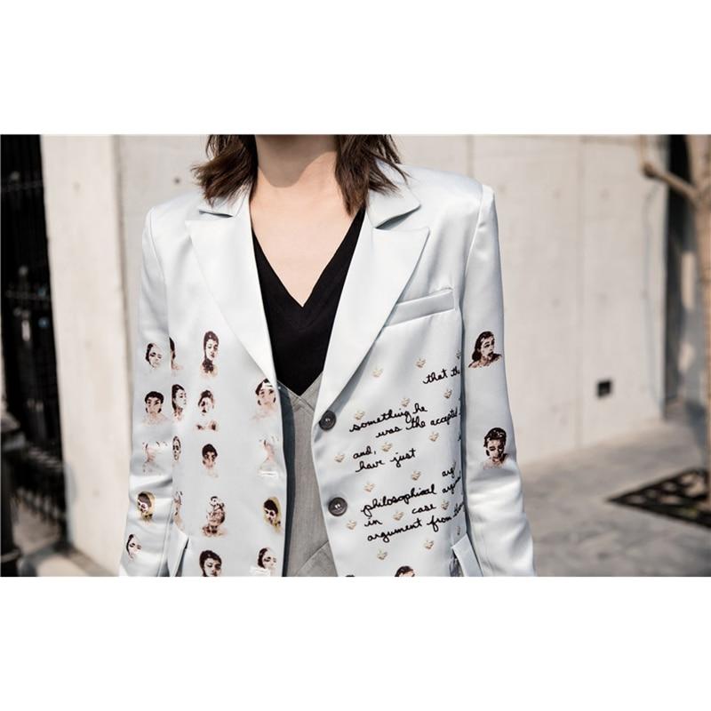 Women Blazer Character Alphabet Fun Print Single-breasted Long Sleeve Suit Female Retro Casual Jacket Coat Fashion Office Blazer