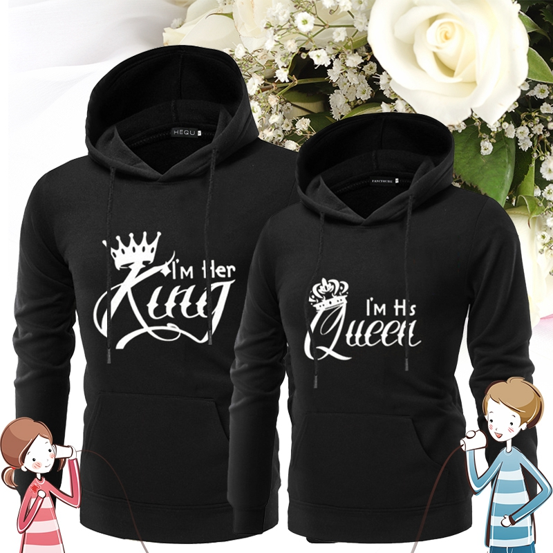 I'M Her KING I'M His QUEEN Couple Hoodies Christmas Women Men Hooded Sweatshirt Female Full Sleeve Xmas Casual Pullovers