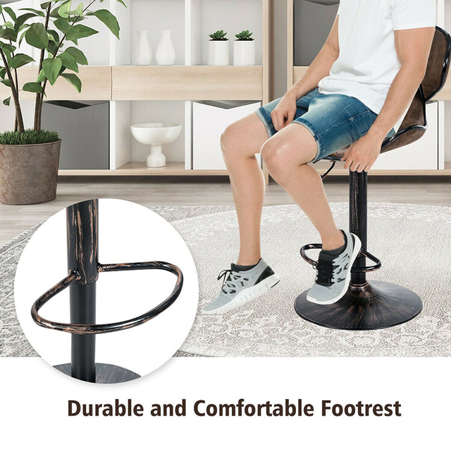 Set of 2 Adjustable Bar Stools Counter Height Chairs Unique Hot-stamping Cloth Seat Bar Chair 4