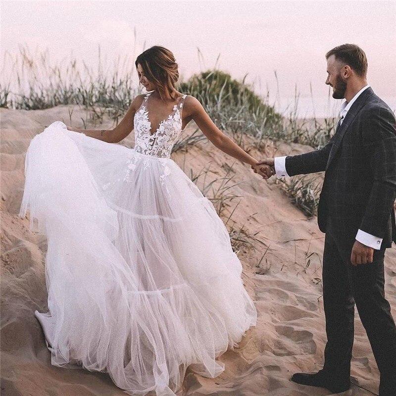 Eightale Beach Wedding Dress V-Neck Appliques Lace Tulle Backless Boho Wedding Gowns Boheimian A-Line Princess Bridal Dress