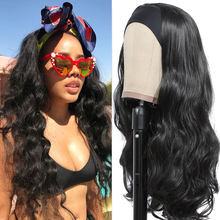 Pelucas de diadema con ondas para mujeres negras, cabello sintético resistente al calor, Color Natural, máquina completa, fácil de llevar