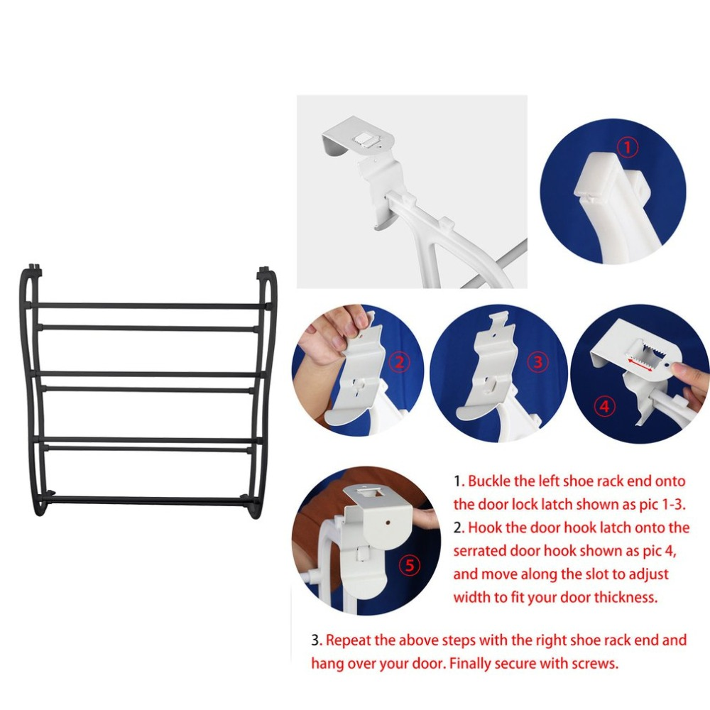 4 Layers Hanging Shoe Rack for 12 Pairs of Shoe Rack with Non Slip Door Pads to Prevent Scratching 7