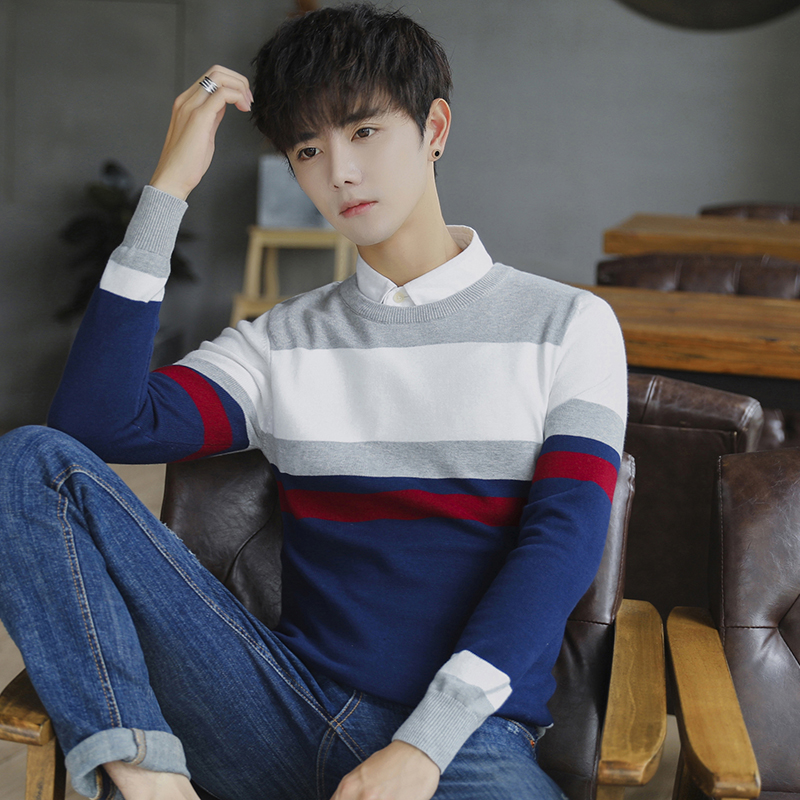 Autumn Winter Men's Round Neck Cotton Striped Sweater Slim Fashion Trending Sweater(no Shirt)