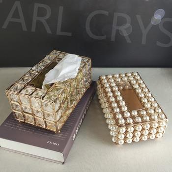 Caja metálica de pañuelos de papel con perlas de cristal, dispensador de toallas de papel para restaurante, caja de toallitas para decoración de bodas, soporte para pañuelos de automóvil, soporte para servilletas