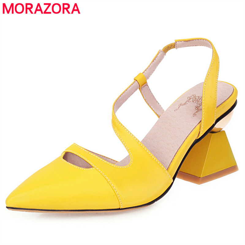 MORAZORA 2020 New fashion women sandals high quality brand pointed toe Strange high heels sandals female party wedding shoes