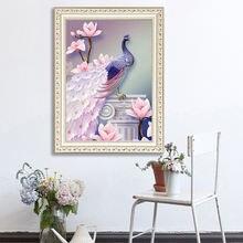 Diy 5d алмазная картина для гостиной Павлин Печать крестиком
